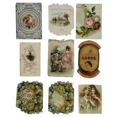 8 Victorian 1875-1899 Die Cut Ephemera Paper Scrap Trade Cards
