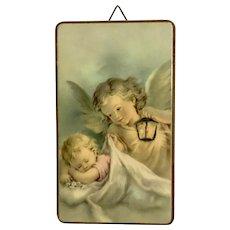 Vintage Angel Protecting Sleepy Baby Wall Plaque