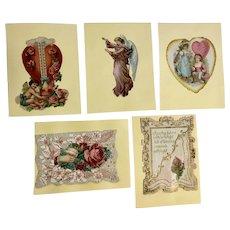 5 Victorian 1875-1899 Valentine Die Cut Embossed Paper Scrap Cards