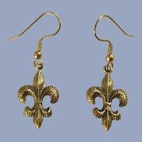 Gold-Tone Fleur-De-Lis Earrings for Pierced Ears