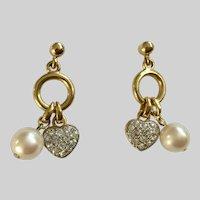 Gold-Tone Earrings with Faux Pearl & Rhinestone Encrusted Hearts Pierced Ears