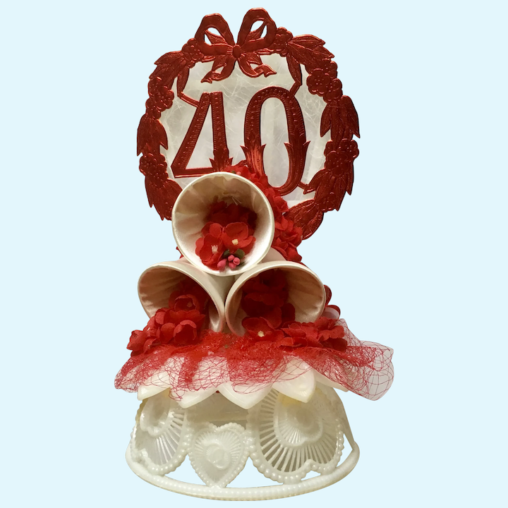 Amidan S 40th Wedding Anniversary Cake Topper Bells 1980 S Hand Made Gumgumfuninthesun Ruby Lane