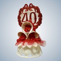 Amidan's 40th Wedding Anniversary Cake Topper Bells 1980's Hand Made