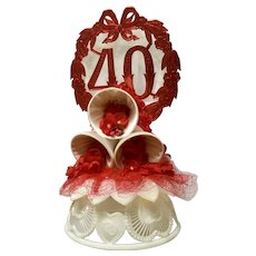 Vintage Amidan's 40th Wedding Anniversary Cake Topper Red with 3 White Bells 1980's Hand Made Never Used Shabby Chic