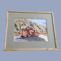 Matt Deak, Caboose Train Car Georgetown Loop Watercolor Painting