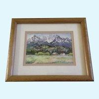Kanoko Saizyo,, Homestead Ranch Watercolor Painting Signed by Artist