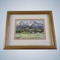 Kanoko Saizyo,, Homestead Ranch Watercolor Painting Signed by Artist