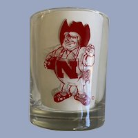 Vintage University of Nebraska Cornhuskers Drink Glass Cup Cocktail Herbie