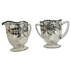 Creamer & Sugar Sterling Silver Overlay Lily of the Valley Flowers