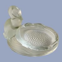 Verlys Fenton Frosted Satin Glass Duck Soap Ashtray Trinket Dish
