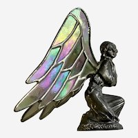 Stained Glass Iridescent Winged Pewter Fairy Figurine 1996