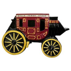 Wells Fargo Stagecoach Metal Coin Bank No Key