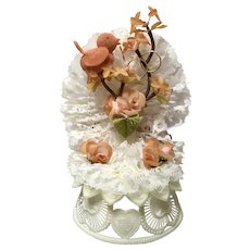 Vintage Amidan's Wedding Cake Topper Bird And Gold Rings Peach Rust Color 1980's Hand Made Never Used Shabby Chic