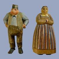 Folk Art Hand Carved Wood Figural Figurines