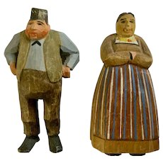 Folk Art Hand Carved Wood Figural Figurines