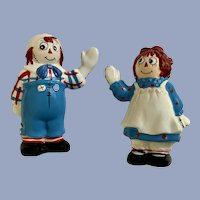 Vintage Raggedy Ann & Andy Salt & Pepper Ceramic Shakers