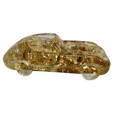 Vintage Lucite Automobile Sports Car Paperweight Pen Holder Gold Foil Jaguar