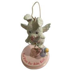 Baby Bunny Girl Angel Ornament Figurine LI'L Guardians Enesco