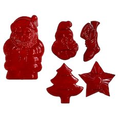 Mid-Century Christmas Santa Cookie Cutters and Trinket Matching Box Group