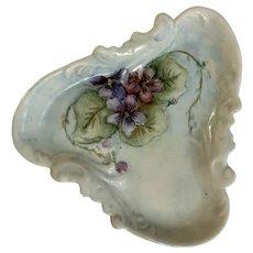 Vintage Triangular Porcelain Dish Floral Hand Painted Purple Violets