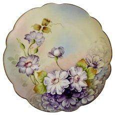 Vintage Decorator Plate with Purple Flowers P. H Leonard Mark Vienna Austria