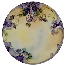 JPL Jean Pouyat Limoges Plate France Daisies Hand Painted Flowers