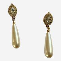 Faux Diamond Gold-tone Pearl Drop Pierced Earrings