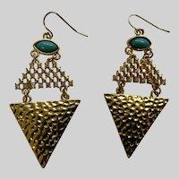 Gold-tone Faux Diamond Rhinestones and Turquoise Colored Bead Fishhook Earrings
