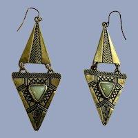 Pyramid Shaped Faux Brass and Jade Dangle Fishhook Earrings