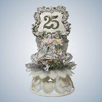 Amidan's, Silver 25th Anniversary Wedding Cake Topper Hand Made 1980's