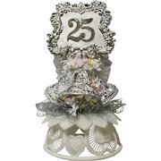 Vintage Wedding Cake Topper, Amidan's, Silver 25th Anniversary With Silver Bells, Hand Made 1980's Never Used Shabby Chic