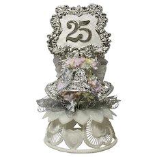 Amidan's, Silver 25th Anniversary Wedding Cake Topper Hand Made 1980's