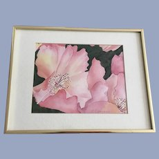 S. Orman, Pink Hibiscus Flowers Watercolor Painting