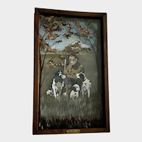 John Balazs, Grandpa With His Hunting Dogs Acrylic Painting Diorama