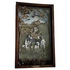 John Balazs, Grandpa With His Hunting Dogs Acrylic Painting Diorama