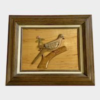 J R Nixon, Mourning Dove Relief Wall Sculpture Carving