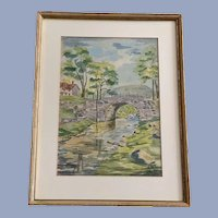 Theo Yepsen, Stone Bridge Over Creek Watercolor Painting