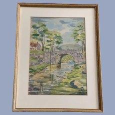 Theo Yepsen, Stone Bridge Over Creek Watercolor Painting