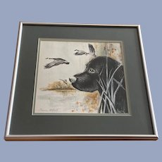 Lauren Axtell, Black Lab Hunting Dog Watercolor Painting