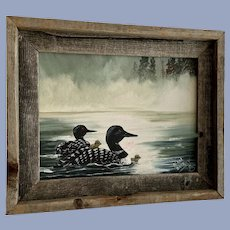 Leon Barbey, Ducks Swimming With Their Babies Acrylic Painting