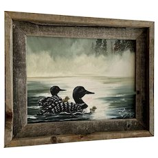 Leon Barbey, Loons Swimming With Their Babies Acrylic Painting