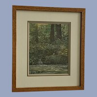 Jane F Elliott, Forest Tributary Into River Oil Painting