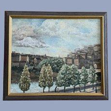 Lauber, Impressionistic Cityscape Park Oil Painting