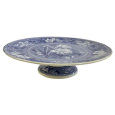 Spode Footed Cake Pedestal Stand Plate Botanical Blue Room Collection