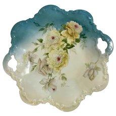 Vintage Rose Flower Serving Plate Dish With Handles PT Germany