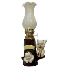 Mid-Century Small Oil Lantern Cute Squirrels in a Tree