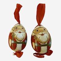 Christmas Santa Claus Wooden Egg Ornaments Hand Painted