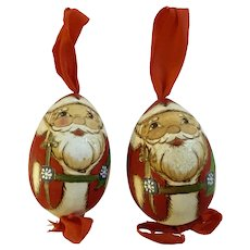 Christmas Santa Claus Wooden Egg Ornaments Hand Painted