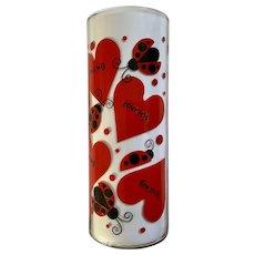 VASE Indiana Glass Lovebug Ladybug Heart Cylinder Vase #31074 Love Bugs