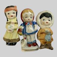 Vintage International Children Dollhouse Dutch, Indian, Eskimo Doll Figurines Group